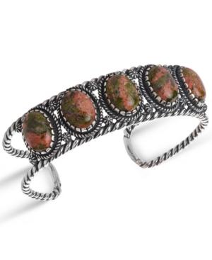 by Carolyn Pollack Unakite Gemstone Rope Cuff Bracelet in Sterling Silver
