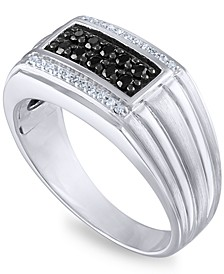Men's Black Sapphire (3/8 ct. t.w.) & Diamond (1/10 ct. t.w.) Ring in Sterling Silver
