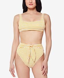 Sunshine Stripe Retro Bikini Top& High-Waist Bottoms