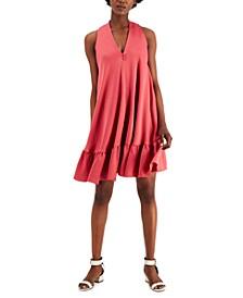 V-Neck Ruffled-Hem Dress