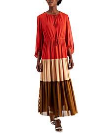 Tie-Neck Colorblocked Tiered Maxi Dress