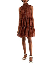 Smocked Polka-Dot Chiffon Tiered Dress