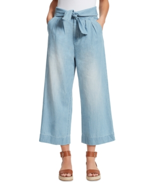 Tie-Front Wide-Leg Jeans