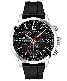 Men's Swiss Chronograph PRC 200 Black Rubber Strap Watch 43mm