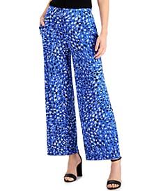 Petite Wide-Leg Printed Pants