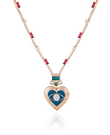 Gold-tone Box Chain With Crystal And Resin Heart Pendant