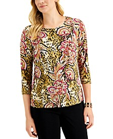 JM Collection Mixed Print Top, Created for Macy's