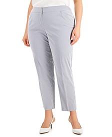 Plus Size Striped Chambray Ankle-Length Pants