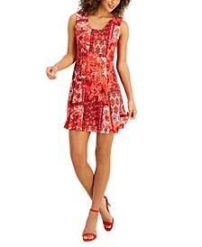 Petite Paisley-Print Fit & Flare Dress