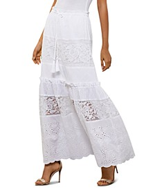 Embroidered Lace-Panel Skirt