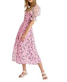 Elitan Puff-Sleeve Midi Dress