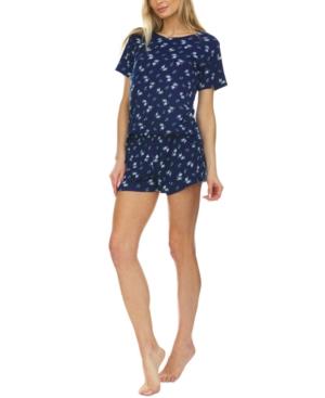 Printed Ribbed Shorts Pajama Set