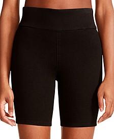 Juniors' Selena Stretch-Denim Biker Shorts
