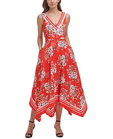 Handkerchief-Hem Printed Dress