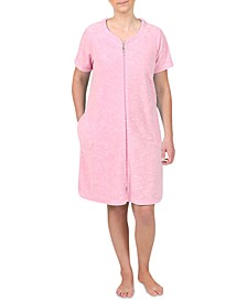 Floral-Embossed Short Zipper Terry Robe