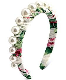INC Graduated Imitation Pearl Tropical-Print Headband, Created for Macy's