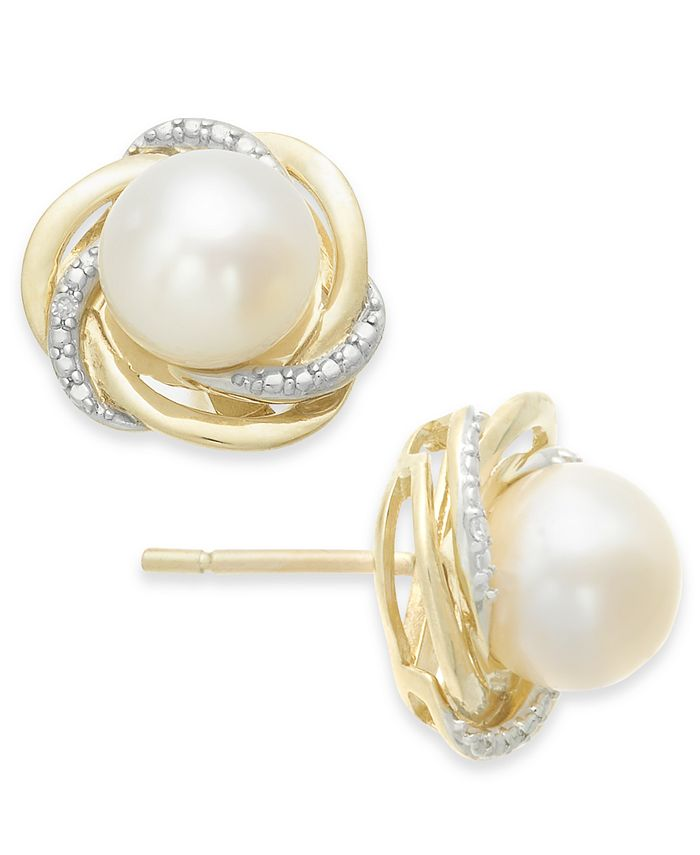 Macy's - Cultured Freshwater Pearl (7mm) and Diamond Accent Knot Stud Earrings in 14k Gold
