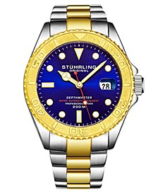 Men's Automatic Date Dive Silver and Gold Stainless Steel Bracelet Watch 42mm
