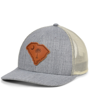 Local Crowns South Carolina Heather Leather State Patch Curved Trucker Cap
