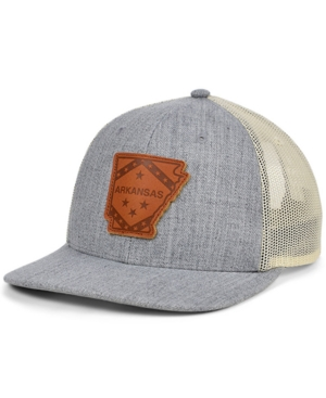 Local Crowns Arkansas Heather Leather State Patch Curved Trucker Cap