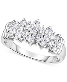 Lab-Created Diamond Cluster Ring (3/4 ct. t.w.) in Sterling Silver