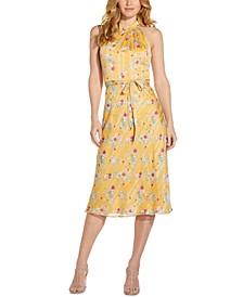 Printed Belted-Waist Dress