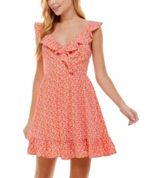 Juniors' Ruffled Open-Back A-Line Dress