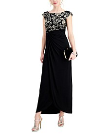 Embroidered Cap-Sleeve Gown