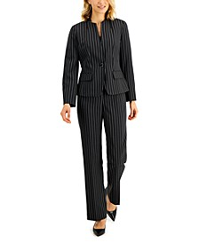 Striped Stand-Collar Pantsuit