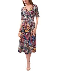 Paisley Faux-Wrap Midi Dress