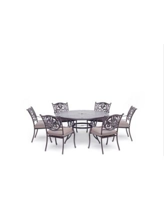 """Chateau Outdoor 7-Pc. Dining Set (60"""" Round Dining Table and 6 Dining Chairs) with Outdura® Cushions, Created for Macy's"""