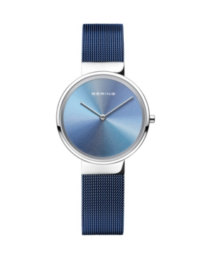 Women's Anniversary Blue Stainless Steel Mesh Strap Watch 31mm