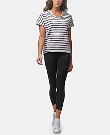 Women's Short Sleeve Striped Pullover Hoodie