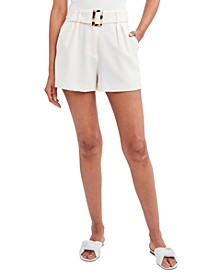 Solid Pleat-Front Belted Shorts