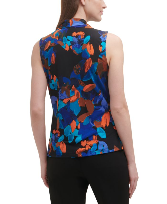 Calvin Klein Printed Pleated-Neck Top & Reviews - Tops - Women - Macy's