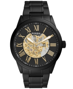 FOSSIL MEN'S FLYNN AUTOMATIC BLACK STAINLESS STEEL WATCH 48MM