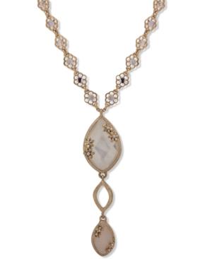 Gold-Tone Pave & Stone Flower Long Pendant Necklace