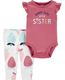 Baby Girls Berry Cute Sister Bodysuit Pant, 2 Piece Set