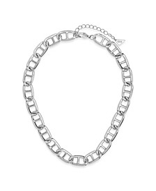 Women's Interlocking Anchor Chain Silver Plated Choker Necklace