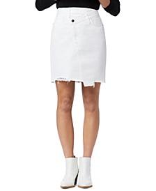 The Riley Denim Cut-Hem Pencil Skirt