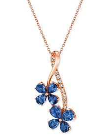 """Blueberry Sapphire (1-1/2 ct. t.w.) & Nude Diamond (1/10 ct. t.w.) Flower 18"""" Pendant Necklace in 14k Rose Gold"""