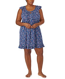 Plus Size Floral-Print Flutter Sleeve Nightgown