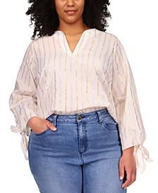 Plus Size Metallic-Striped Tunic