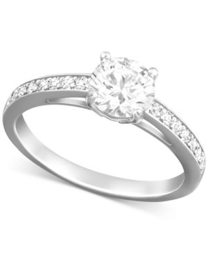 RHODIUM-PLATED ROUND-CUT CLEAR CRYSTAL RING