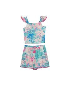 Big Girls Tie Dye Flutter Sleeve Short Set