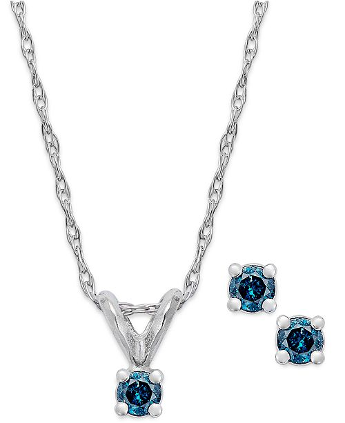 Macy's 10k White Gold Blue Diamond  (1/10 ct. t.w.) Necklace and Earring Set