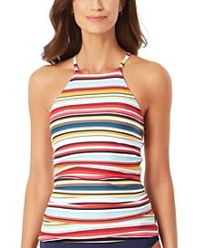 Boardwalk Stripe High-Neck Tankini Top