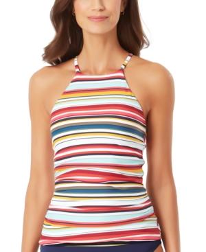 Boardwalk Stripe High-Neck Tankini Top Women's Swimsuit