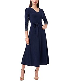 V-Neck Beaded Midi Dress