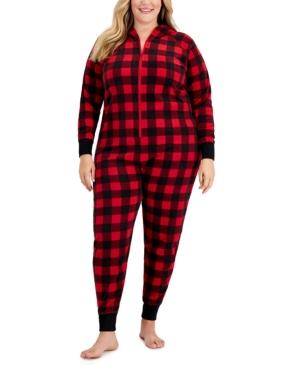 Plus Size Fleece 1-Pc. Buffalo Check Pajama